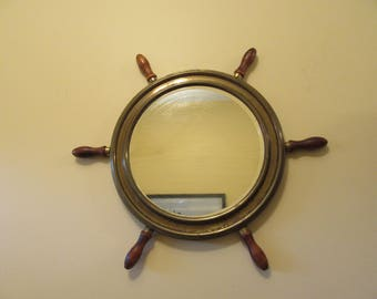 Brass and wood ships wheel wall mirror- vintage- nice design, solid and functional- ready to hang