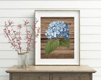 Hydrangea Print, printable wall art, wood wall art, rustic home decor, rustic bathroom decor, hydrangea, hydrangea art, hydrangea printable