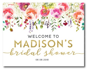 Welcome Bridal Shower Sign, Welcome Sign, Welcome Shower Sign, Wedding Shower, Kitchen Tea, Floral Bridal Shower 2604