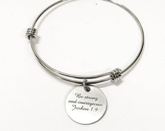 Encouragement Gift, Be Strong And Courageous Joshua 1:9 Expanding Bangle Charm Bracelet, Bible Verse Jewelry Gift, Daughter Gift for Her