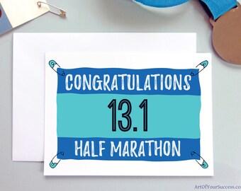 Half Marathon card, 13.1 mile, congratulations half marathon, running card