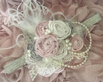 Blush Fairy Dust couture headband, ott bow, baby headband, blush pink headband, cream headband, newborn headband, over the top bow