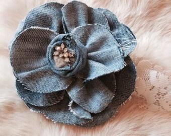 Denim fabric flower pin.  Bohemian Style Fashion or Home Accessory