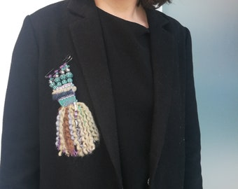 Hand Weaved and Embellished Brooch