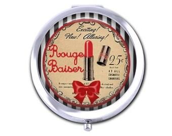 Lipstick pocket mirror vintage French ad compact mirror bridesmaid gift for girlfriend  purse mirror.