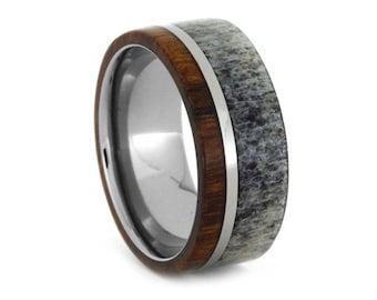 Men's Titanium Wedding Band with Ironwood and Antler, Signature Style