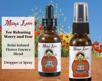 Flower Essence for Anxiety and Stress Reduction, Releasing Worry and Fear, Organic, Reiki-Infused Bach Flower, Dropper or Spray