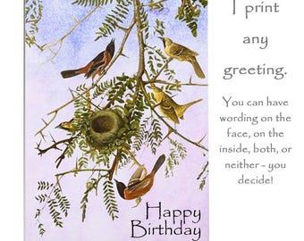 Birds in art card, bird card, blank Greeting card, Handmade birthday card, anniversary card,Handmade artist card, personalised card,