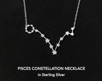 Pisces Constellation Necklace, Pisces Necklace, Pisces Gift, Pisces Jewelry, Zodiac Necklace, Pisces, Silver Necklace, Horoscope Necklace