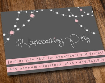 Printable Housewarming Invitation - Pink - Lights - Housewarming Party - Editable - Instant Download - 2 Per Page - DIY - Print at Home