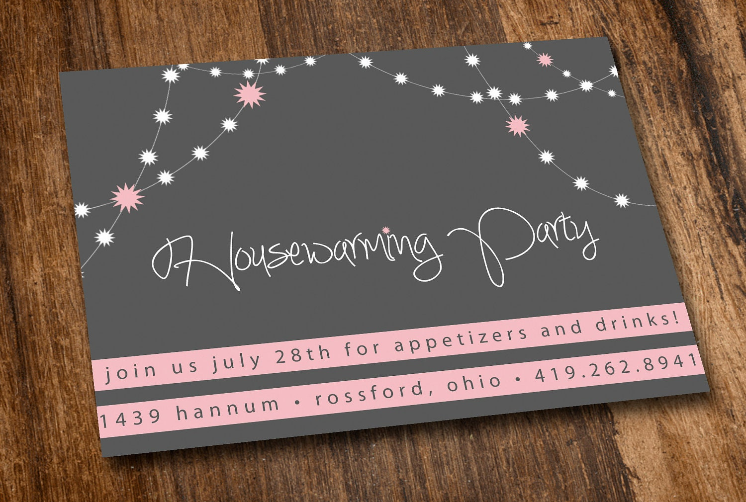 Printable Housewarming Invitation Pink Lights