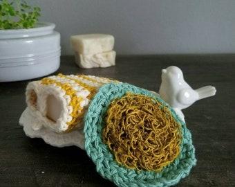 bath scrubbies crochet soap saver hemp + cotton face scrubber soap pocket exfoliate