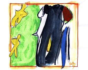 Effigie 5. Aquarelle, encre de chine et crayon gras noir sur feuille de bloc à dessin esquisse