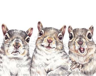 Moody Squirrel Print - Coloured Pencil Drawing, Nursery Art, Animal Lover Gift, Fox Squirrel Illustration, Canadian Wildlife, Happy Animals