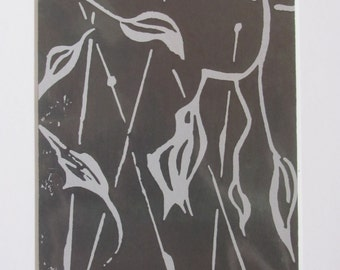 Abstract leaves - Linocut