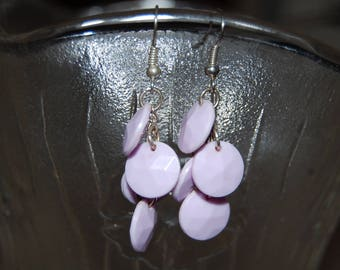 Earrings purple, chain.