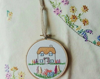 Floral Cottage Hoop Art | Hand Embroidered | Flower Embroidery | Country Flowers | Wall Art | Wall Hanging | Home Decor | Gift |