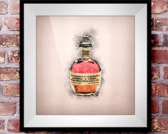 Blanton's Single-Barrel Bourbon - Crosshatch Whisky Wall Art