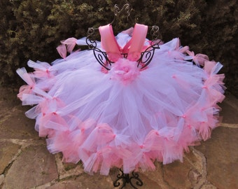 WHITE and PINK TUTU - Petti Tutu Dress - White Tutu Dress - Pink Tutu Dress - Flower Girl Gown - Pageant Tutu Dress - Girls' Tutu Dress -