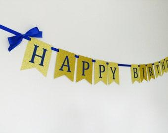 Happy birthday banner royal blue and gold. Birthday boy. First birthday. Girl, gold, silver. Pink.