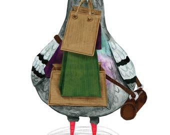 Shopaholic Pigeon - A4 Giclée Print
