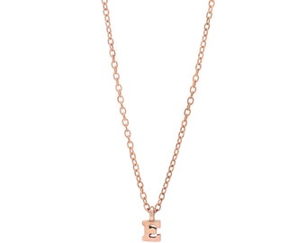 Rose Gold Vermeil Personalized Initial Necklace - Delicate Rose Gold Vermeil Chain - Small Initial Charm - 17in. Necklace