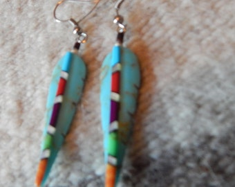 Turquoise earrings, Southwestern, Texas,  southwestern jewelry,  tribal New Mexico, gifts, womens, earrings, coral, horse, silver, jewelry