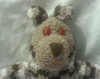 Brown Fuzzy Sock Bear Soft Plush Handmade