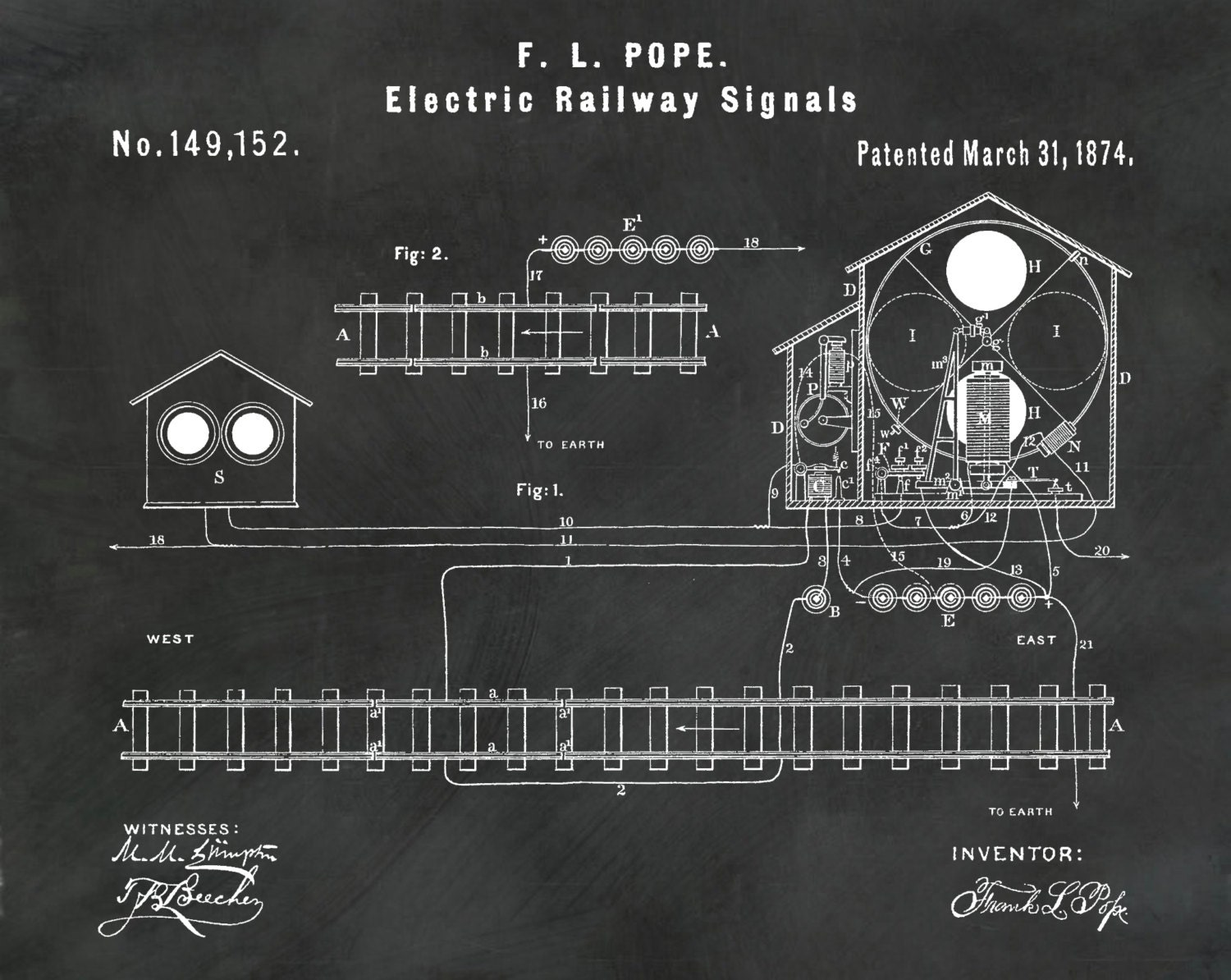 Patent 1874 electric railway signal railroad signal train art patent 1874 electric railway signal railroad signal train art locomotive art railway station art railway signal railroad art malvernweather Gallery