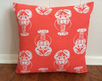 SALE, Lobster Pillow Cover, Salmon Lobster Pillow Cover, 18''x18'' Beach Decor Pillow Cover