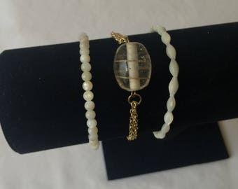 White Marble and Gold Bracelet Set - 3 Bracelets