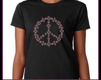 Peace sign filled with baseballs Rhinestone t-shirt