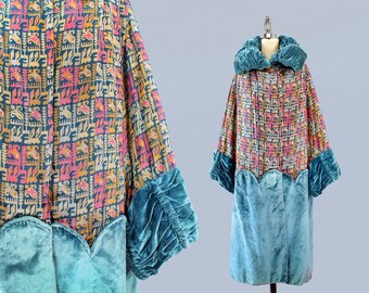 1920s Coat / 20s REVERSIBLE Abstract Metallic Lamé Opera Coat / Blue Velvet / Flapper/ Opera Coat