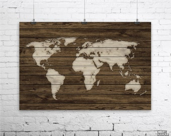 Rustic world map poster vintage map of the world wood look world map poster rustic map poster rustic decor rustic wall art office decor home decor vintage world map wood art print gumiabroncs Images