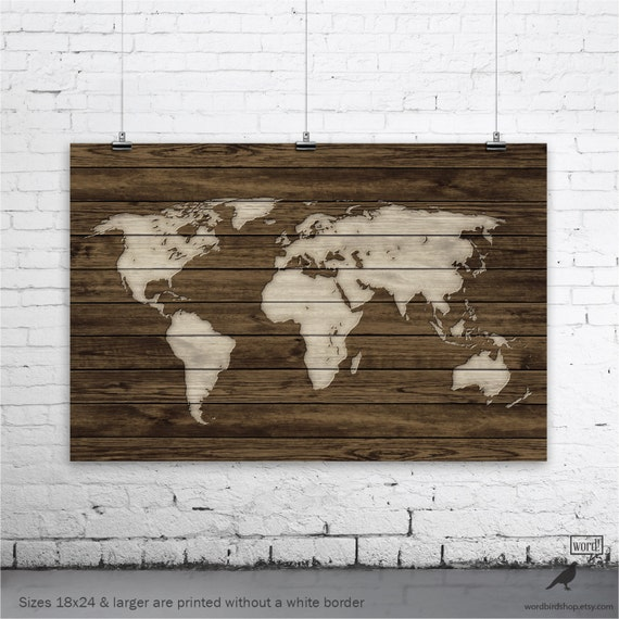 World map poster rustic map poster rustic decor rustic wall world map poster rustic map poster rustic decor rustic wall art office decor home decor vintage world map wood art print gumiabroncs Choice Image