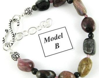 Tumbled Tourmaline Nugget Bracelet MODEL B