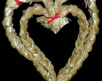 Vintage German Straw Heart Ornament~Vintage Valentines Deco~Hand Made Straw Heart~Rustic Valentine
