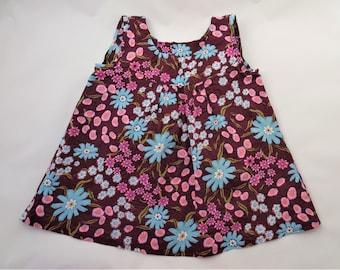 Sleeveless tunic waffle cotton and beautiful flowers for little girls size 5T