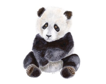 Baby Zoo Animal, Panda Bear Print, Jungle Nursery Art, Baby Panda, Zoo Nursery, Jungle Animal, Panda Print, Baby Animal Print, Panda Art