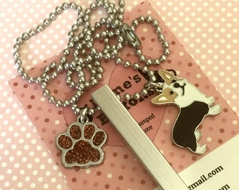 Dog necklace, unisex dog gift, Hand Stamped, ball chain, dog lover gift, gift for him, gift for her,