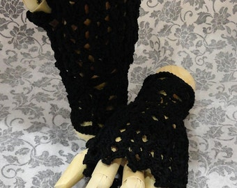 Black Steampunk Victorian Lace Crochet Fingerless Tea Gloves Noir Punk Wiccan