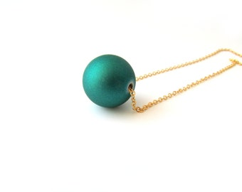 Teal Green Necklace, Dainty Bead Necklace, Emerald Gold Necklace, Dark Emerald Necklace, Green Rubber Bead Necklace, minimal bead necklace