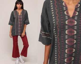 Hippie Shirt Embroidered Top Aztec Mexican Blouse Grey Tunic Shirt Tribal Bohemian Vintage Boho Ethnic Guatemalan Medium