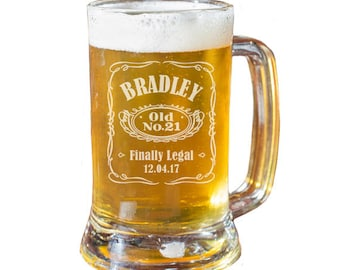 21st Birthday Beer Mug, Personalized Beer Glass, 21st Birthday Gift, Boyfriend Gift, Men's Birthday, Beer Gift