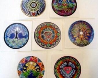 6 Mandala Stickers- of Original Illuminated  primacolor Mandala Drawing Sticker- 3 inch -