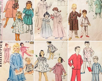 6 Vintage Child's Pajamas Sewing Patterns Sz 2-10 1950's-60's (0255)