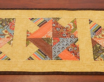 Yellow and Orange Quilted Table Runner