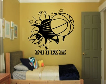 Nice Custom Basketball Bursting Through Wall Decal   Custom Sports Decal, Basketball  Decal, Custom Wall