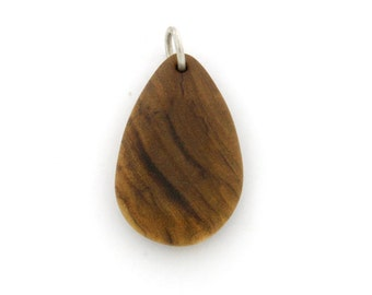 Tear Drop Pendant made with Various Wood Types, Wood Jewelry