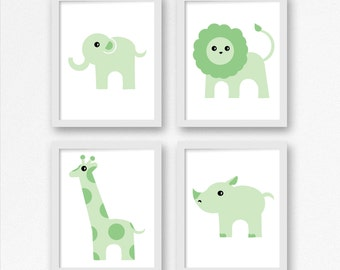 Baby Nursery Safari Animals in Green, Child's room, Nursery Decor, Baby room in Green, Baby Shower Art, gender neutral